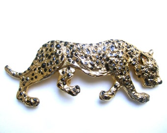 MIMI D N Massive Gilt Metal Jaguar Belt Buckle