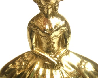 Whimsical Southern Belle Brass Metal Bell Ringer