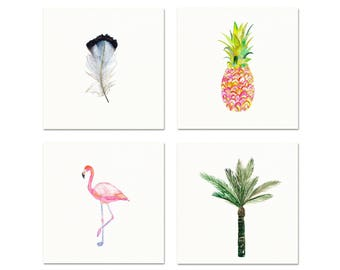 Tropical Art Prints Set of 4. Watercolor Flamingo. Watercolor Pineapple. Watercolor Palm Tree. Watercolor Feather. Tropical Gallery Wall Art