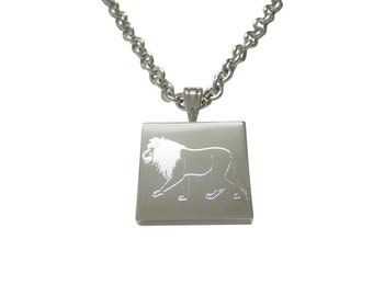 Silver Toned Etched Left Facing Full Lion Pendant Necklace