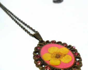 Bright Pink Flower Necklace, Yellow Buttercup Flower Pendant, real pressed flower cameo necklace with pink rhinestones, summer jewelry