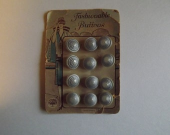 Rare Card of 12 Vintage Light Blue Seashell Style Buttons