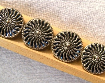 Vintage Silver and Blue Mirror-back Buttons, 4 buttons on Original Cards, Casa de Leon, 23mm, Blue Mirror, Twinkle, Sunburst, Pierced Design