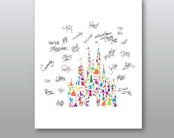 Character Castle with Character Signatures Rainbow..   digital download..8x10 or 16x20.
