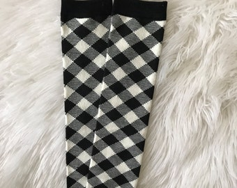 Black and White Checkered Baby Legs / Leg Warmers / Arm Warmers