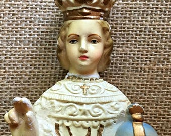 Beautiful Rare Vintage Infant of Prague chalkware statue from France
