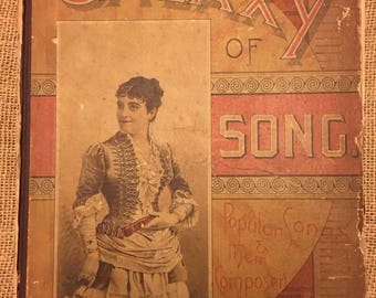 """1883 edition of """"Galaxy of Song, Popular Songs And Their Composers"""" Antique Songbook by Thomas Hunter, Philadelphia"""
