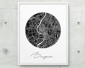 Bangkok Urban Street Map Poster. Bangkok City Map Print. Black White Bangkok Thailand Print. Printable Map Decor Travel Gift. Printable Art
