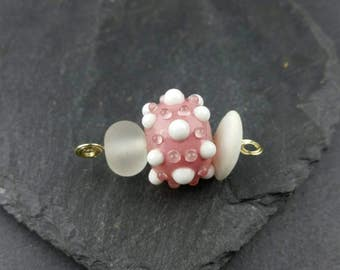 Peach and white mini lampwork bead set