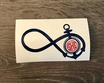 Infinity Anchor Monogram Vinyl Decal, Yeti Decal, Monogram, Vinyl Monogram Phone Sticker