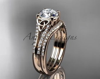 14kt rose gold celtic trinity knot engagement ring, diamond wedding ring, engagment set CT7108S