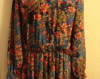 Vintage 1980s Multi Colored Flowered Shirtwaist Pleated Dress