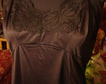 Vintage 1960s Black Lace Camisole Top Full Slip Dress Gown