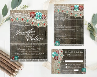 Rustic Lace Wedding Invitations Set, Rustic Wedding Invitation with rsvp card and Insert card, DIY Rustic Wedding Invitation ~Wood Lace