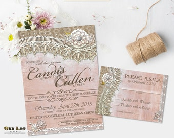Pink Lace Wedding Invite and RSVP Rustic Lace Wedding Invitation Suite Printable Invitations in Blush Pink And Burlap Cottage Chic Romantic