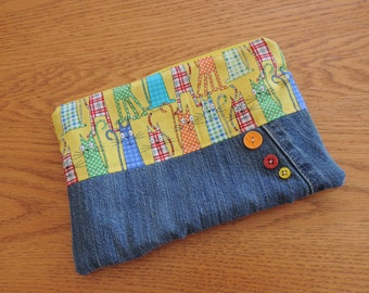 Ecofriendly funky colorful zipper pouch with upcycled jeans