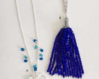 Beaded Necklace, Blue Beaded Necklace, Blue Necklace, Royal Blue, Teal Beaded Necklace, Floral Pendant Necklace