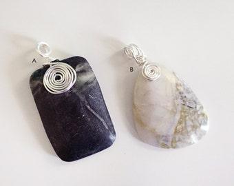 Wire Work Pendants, Stone Pendants, Necklace Pendants, Wire Wrapped Stones, Stone Centerpieces