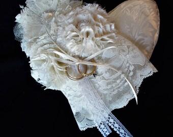 Ring Pillow, Bridal Ring Pillow, Ring Bearers Pillow, Wedding Pillow, Fabric Heart Pillow, Handmade Flowers, Heart Shaped Pillow