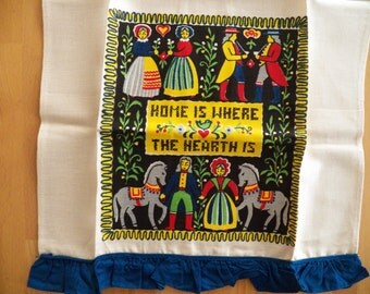 "Charming UNUSED Vintage 1950's Linen Towel ""Home is Where the Hearth Is"""