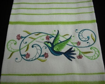 Hummingbird green and white striped towel. Machine embroidered. 100% cotton.