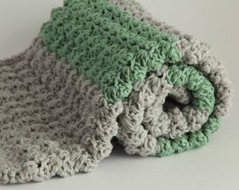Grey and green  handmade extra thickness  crochet baby blanket/shawl.Choice of colours. Ideal Christening / shower /new baby  gift.