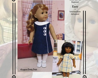 "PDF Pattern KDD23 ""Town & Country""- An Original KeepersDollyDuds Design, Fits most 18"" Doll Clothes"