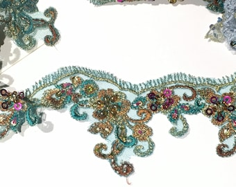 Turquoise Beaded Lace Trim for Dance, Costume or Couture Garments