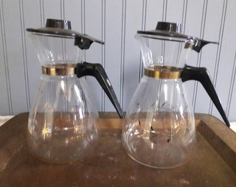 2 - 16 oz Vintage mid- century Glass Coffee Pot carafe Gold Design.