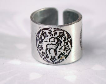 goat ring, stag ring, rabbit ring, animal jewellery, aluminium fashion jewelry, deep band, wax seal style, embossed adjustable ring