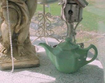 Vintage Green Teapot Cottage French Country Prairie Farmhouse