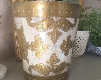 Vintage Italian Florentine Trash Can Florentine Waste Basket Gilt and Ivory Florentine Trash Can