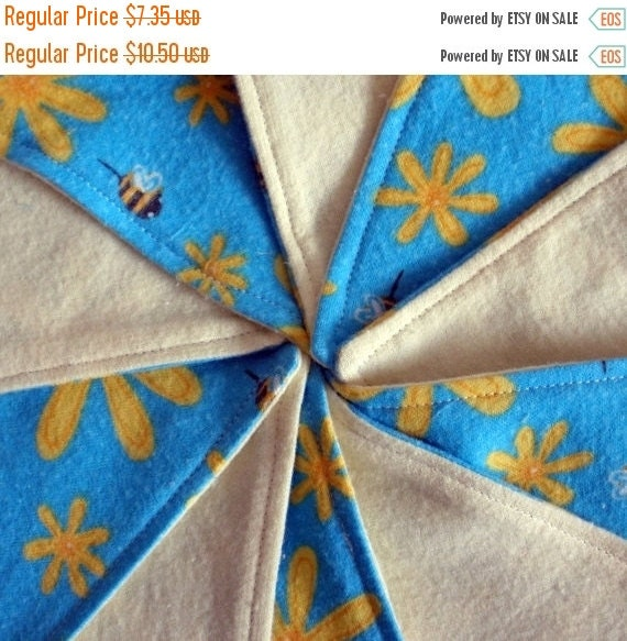 LAST CHANCE CLEARANCE Clearance Yellow Honey Bee Floral Teal Reusable Flannel Cloth Wipes, Set of 10