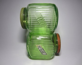 Stunning Pair Hoosier Vaseline Uranium Sugar Co-op Coffee Canister Mason Jars