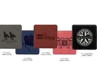 Square Leatherette Coaster (Single)