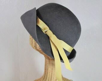 Cloche Hat in Soft Grey Velour Felt ~ Lady Mary ~ 20s, Downton Abbey, rain hat, ribbon ~ handmade by Bonnet, your local Portland millinery