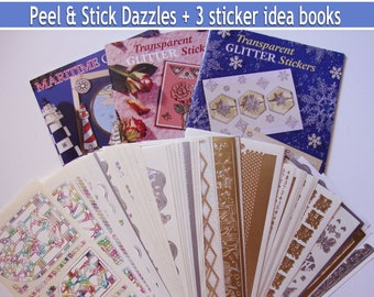 DESTASH,Peel and Stick Dazzles,gold silver stickers, wedding decorations,photo albums,invitations,silver embellishments,gold stickers