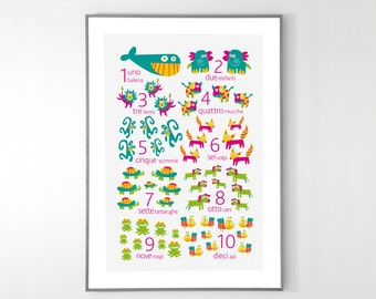 ITALIAN Numbers Poster with animals from 1 to 10 - BIG POSTER 13x19 inches