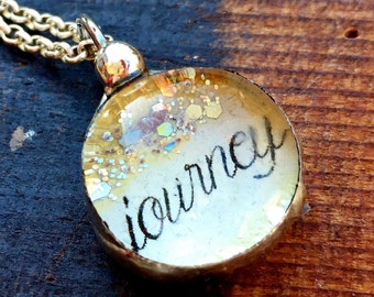 Journey Necklace, Soldered Glass Bubble Charm Necklace, Soldered Glass Necklace, Wanderlust Inspirational Jewelry, Kyleemae Designs