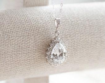 Teardrop Necklace, Bridal Jewelry, Bridesmaid Gifts, Bridesmaid Necklace, Cubic Zirconia Crystal Necklace, Bridal Necklace, Wedding Jewelry