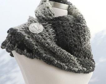 Hand crochet black white grey shawl