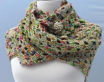 Hand crochet multi-color shawl