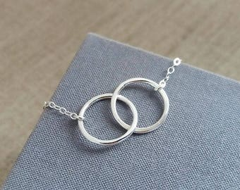 Double Circle Necklace. Eternity Necklace. Sterling Silver Necklace. Hammered Rings. Eternity Circles