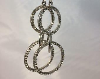 Vintage Hoop Earrings Big Hoop Earrings Silver Hoop Earrings Hoop Dangle Earrings Rhinestone Hoop Earrings Eternity Ring Hoop Earrings