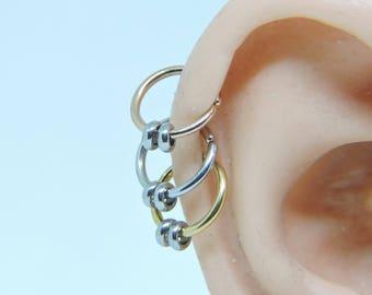 "Triple Helix SET of 3 - Tragus Cartilage Rook Snug Daith - 20 - 18 - 16 Gauge 5/16"" - 3/8"" Endless Hoops - Silver - Gold - Rose Gold Plate"