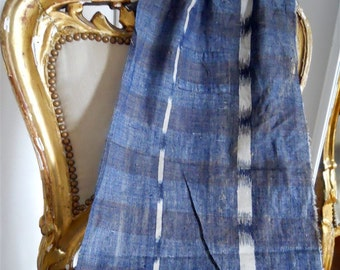 Ikat linen  antique French  fabric  textile 18th-century for pillows, curtains, canopy