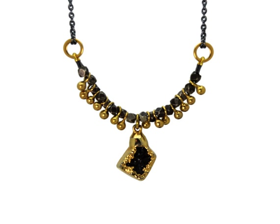One of a Kind Druzy Necklace. Unique Gold Dipped Druzy. Fringe Necklace. Black and Gold Necklace.   NM-2216