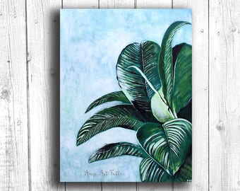 Tropical Leaf Painting Digital download, Printable original art, Digital 8x12 art printable, Beach art
