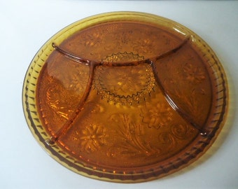 Indiana Glass Amber Divided Relish Tray Platter 1980's Vintage