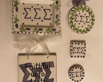 SALE!  Sigma Sigma Sigma  Package - Trinket Dish  ornament motto